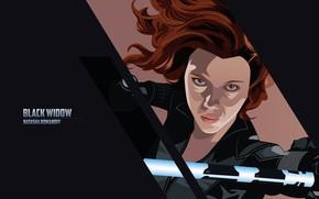 Picture the inscription, Scarlett Johansson, art, Scarlett Johansson, black background, comic, Black Widow, MARVEL, Natasha Romanoff