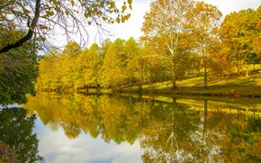 Picture autumn, leaves, trees, Park, reflection, river