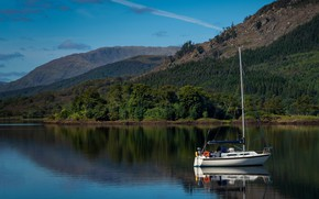 Picture greens, summer, trees, mountains, lake, reflection, blue, hills, boat, slope, Scotland, sail, pond, shrubs, blue …