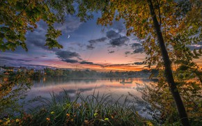 Picture autumn, trees, sunset, river, boat, fisherman