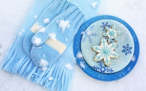 Picture winter, snow, snowflakes, scarf, plates, plate, blue, winter, background, mittens, snow, cookies, snowflake, cookies, scarf, …