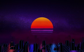 Wallpaper The sun, Music, Star, Background, 80s, Neon, 80's, Synth, Retrowave, Synthwave, New Retro Wave, Futuresynth, ...