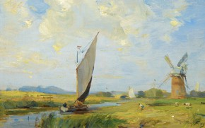 Picture landscape, boat, picture, sail, William Miller Frazer, William Miller Frazer, Cool day on the channel
