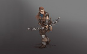 Picture Girl, Red, Fantasy, Art, Style, Illustration, Minimalism, Archer, Bow, Character, Aloy, Horizon Zero Dawn, sanghyun …