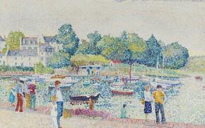 Picture landscape, picture, pointillism, Yvonne Canu, Yvonne Kahn, Pont-l'abbé