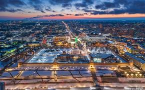 Picture winter, building, home, panorama, fortress, Russia, night city, temples, Tula, Ilya Garbuzov, Тульский Кремль