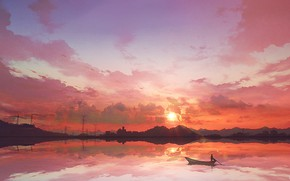 Picture the sky, sunset, boat
