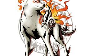 Picture fire, flame, wolf, fire, silhouettes, deity, wolf, god, Amaterasu, Amaterasu, Marvel vs. Capcom 3: Fate …