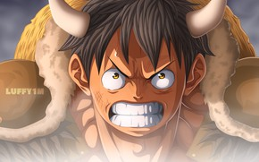 Picture anger, horns, guy, One Piece, Monkey D. Luffy