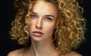 Picture look, model, portrait, makeup, hairstyle, beauty, black background, redhead, bare shoulders, Lashon Rise