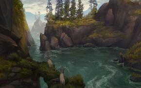 Picture animals, landscape, nature, river, stones, rocks, art, deer, illustration