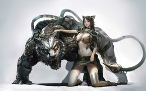 Picture Girl, Fantasy, Beautiful, Art, Asian, Robot, Tiger, Style, Cat, Minimalism, Characters, Figure, Furry