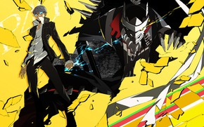 Picture characters, Persona 4, Person 4, yellow background