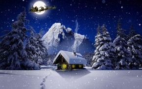 Picture winter, The moon, Christmas, Santa, house, deer