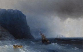 Picture sea, storm, boat, ship, storm, picture, Ivan Aivazovsky, 1876, After surviving a Shipwreck