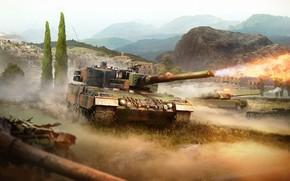 Picture mountains, fire, shot, tank, War Thunder