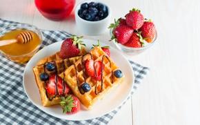 Picture berries, chocolate, Breakfast, strawberry, honey, waffles