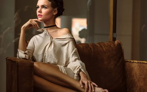 Picture pose, model, portrait, makeup, hairstyle, shirt, brown hair, beauty, sitting, on the couch, Anastasia Shcheglova, …