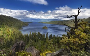 Picture clouds, trees, landscape, mountains, nature, lake, stones, USA, forest, Tahoe, Lake Tahoe, Emerald Bay