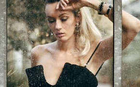 Picture glass, pose, model, portrait, makeup, hairstyle, blonde, beauty, is, in black, bokeh, Olya Alessandra, Andreas-Joachim …