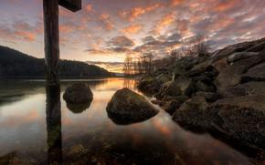 Picture reflection, stones, shore, post, pond