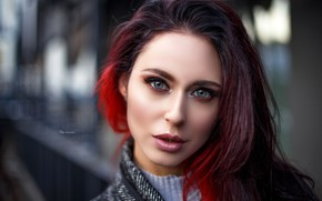 Picture look, close-up, face, background, model, portrait, makeup, hairstyle, brown hair, bokeh, Maxim Romanov, chrastka