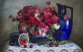 Picture flowers, cherry, berries, raspberry, Lily, roses, bouquet, strawberry, mug, pitcher, napkin