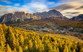 Picture autumn, mountains, valley, Italy, The Dolomites