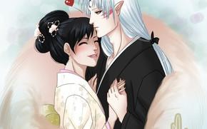 Picture romance, pair, Inuyasha, Kagome, InuYasha, Seshoumaru