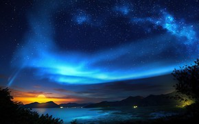 Picture the sky, the sun, space, stars, clouds, landscape, sunset, mountains, night, nature, lights, the dark …