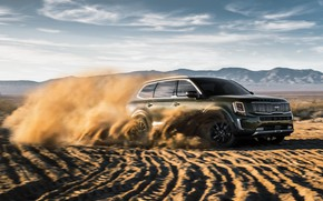 Picture sand, machine, clouds, speed, SUV, Kia Telluride