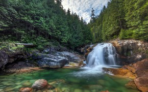 Picture forest, river, waterfall, Canada, Canada, British Columbia, British Columbia, Lower Falls, Provincial Park Golden IRS, …
