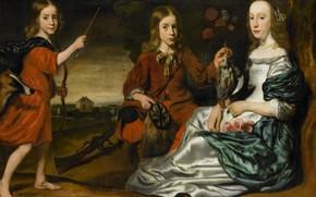 Picture oil, portrait, picture, canvas, 1675, неизвестный художник, Два мальчика в костюмах охотников и девочка...