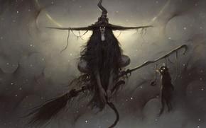 Picture look, animal, fantasy, art, witch, broom, black cat, familiar, dark fantasy