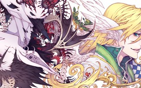Picture anime, art, creatures, bones, skeleton, Fantasy, guys, the vertebrae