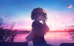 Picture girl, nature, bubbles, form