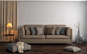 Picture design, sofa, lamp, interior, pillow, Ottoman, living room, vases, modern