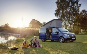 Picture auto, girl, the sun, river, Mercedes-Benz, male, picnic, lovers, Marco Polo