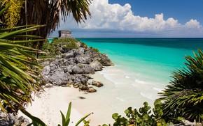 Picture beach, the ocean, Mexico, ruins, Mexico, Caribbean Sea, Tulum, Mayan ruins