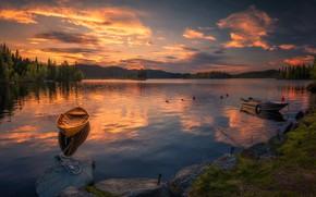 Picture the sky, sunset, lake, boats, Norway, Norway, Ringerike, Ole Henrik Skjelstad