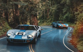 Picture road, forest, transport, car, 1966 Ford GT40 MkII