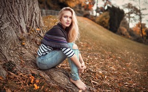 Picture trees, jeans, blue eyes, trees, blue eyes, blurred background, jeans, charm, charm, blurred background, beautiful …