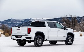 Picture white, snow, pickup, GMC, Sierra, AT4, 2019
