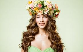 Picture flowers, style, portrait, wreath, curls, Inara Prusakova
