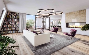 Picture interior, Prague, fireplace, library, living room, dining room, Troy, Penthouse Magnolia