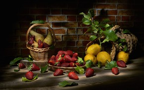 Picture leaves, berries, the dark background, food, strawberry, fruit, still life, basket, pear, items, lemons, composition