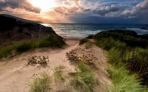 Picture sand, sea, landscape, nature, shore, coast, beauty