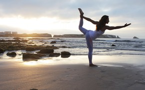 Picture sunset, female, yoga