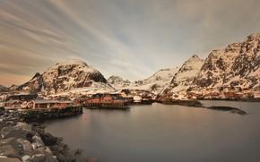 Picture winter, mountains, shore, houses, pond, Lofoten