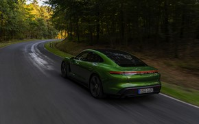Picture Porsche, Turbo S, forest road, 2020, Taycan